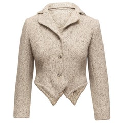 Geoffrey Beene Cream & Brown 1970s Tweed Blazer