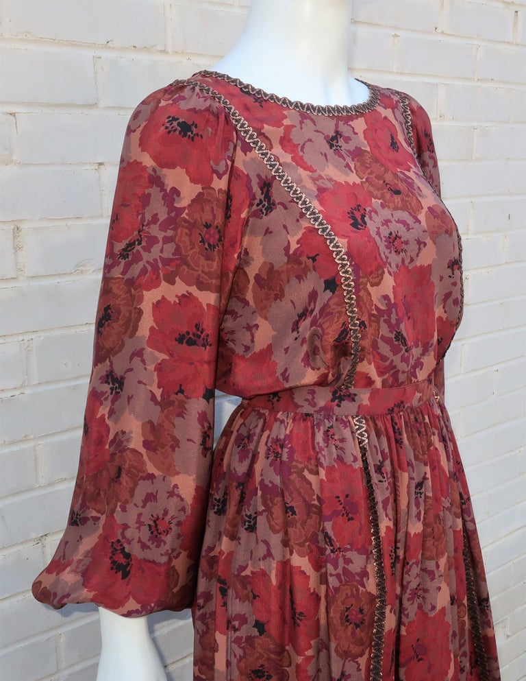 Geoffrey Beene Floral Silk Peasant Dress Ensemble, C.1980 For Sale 5
