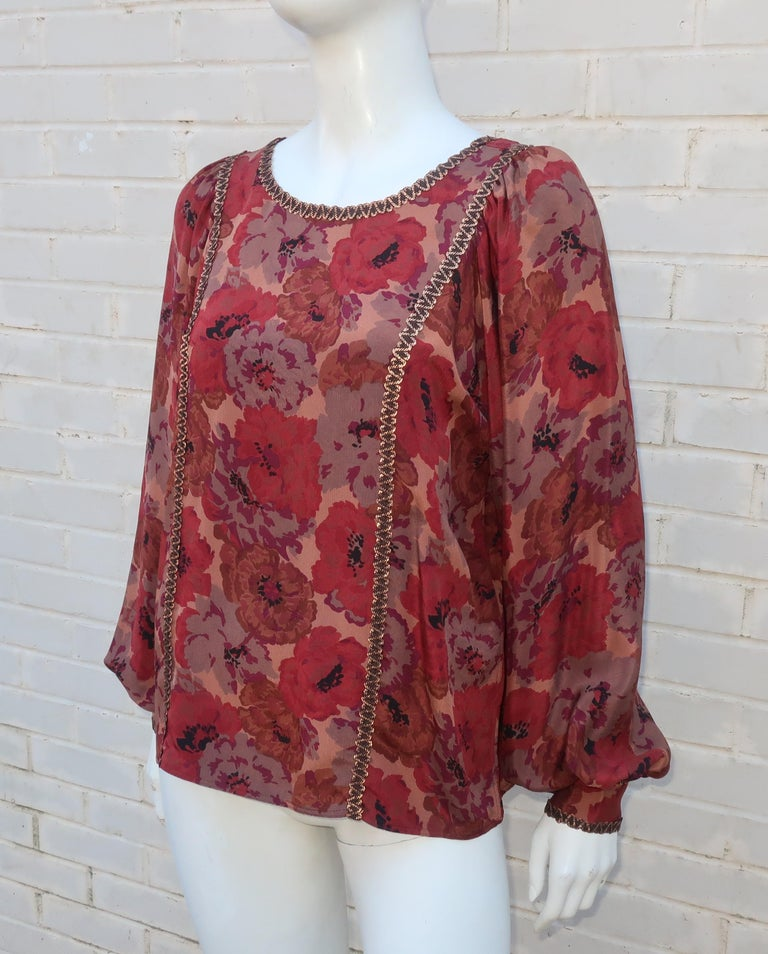 Geoffrey Beene Floral Silk Peasant Dress Ensemble, C.1980 For Sale 6