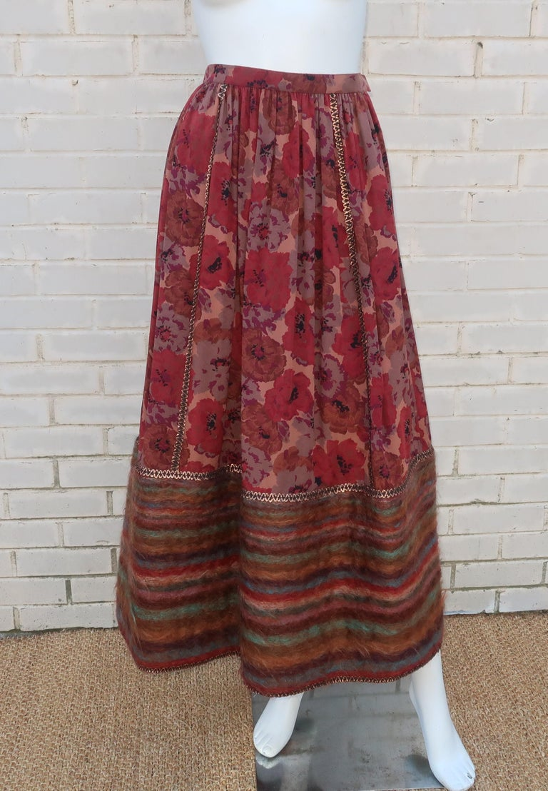 Geoffrey Beene Floral Silk Peasant Dress Ensemble, C.1980 For Sale 7