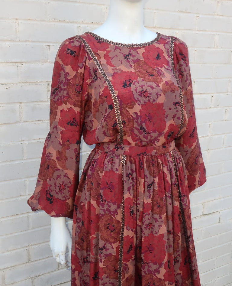 Geoffrey Beene Floral Silk Peasant Dress Ensemble, C.1980 In Good Condition For Sale In Atlanta, GA