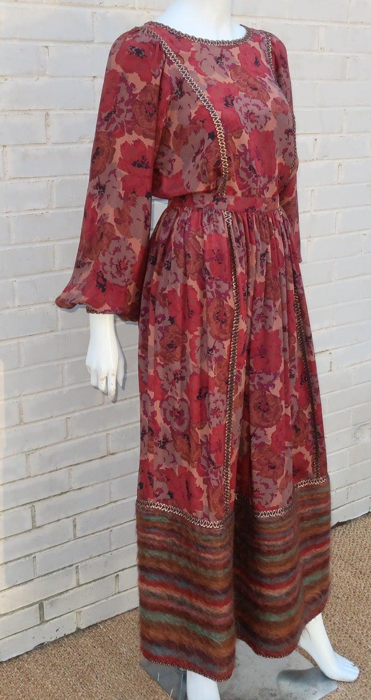 Geoffrey Beene Floral Silk Peasant Dress Ensemble, C.1980 For Sale 1