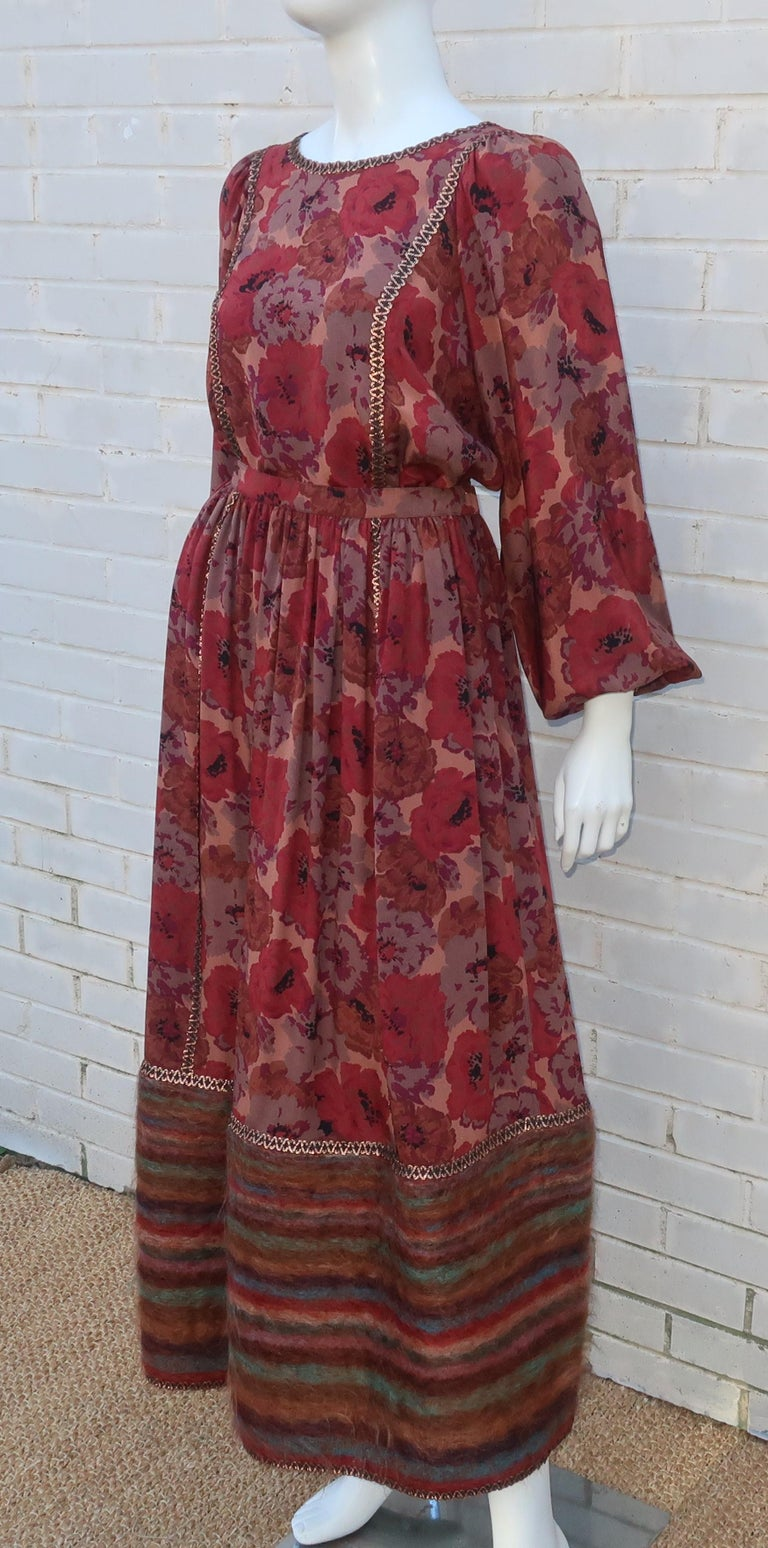 Geoffrey Beene Floral Silk Peasant Dress Ensemble, C.1980 For Sale 1