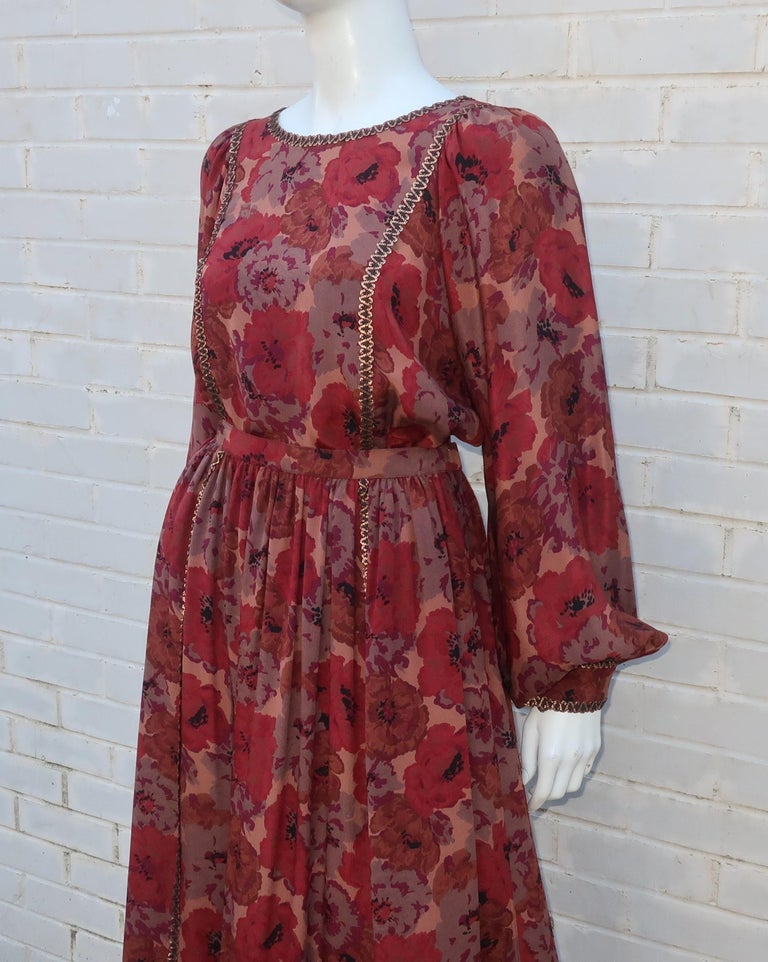 Geoffrey Beene Floral Silk Peasant Dress Ensemble, C.1980 For Sale 2