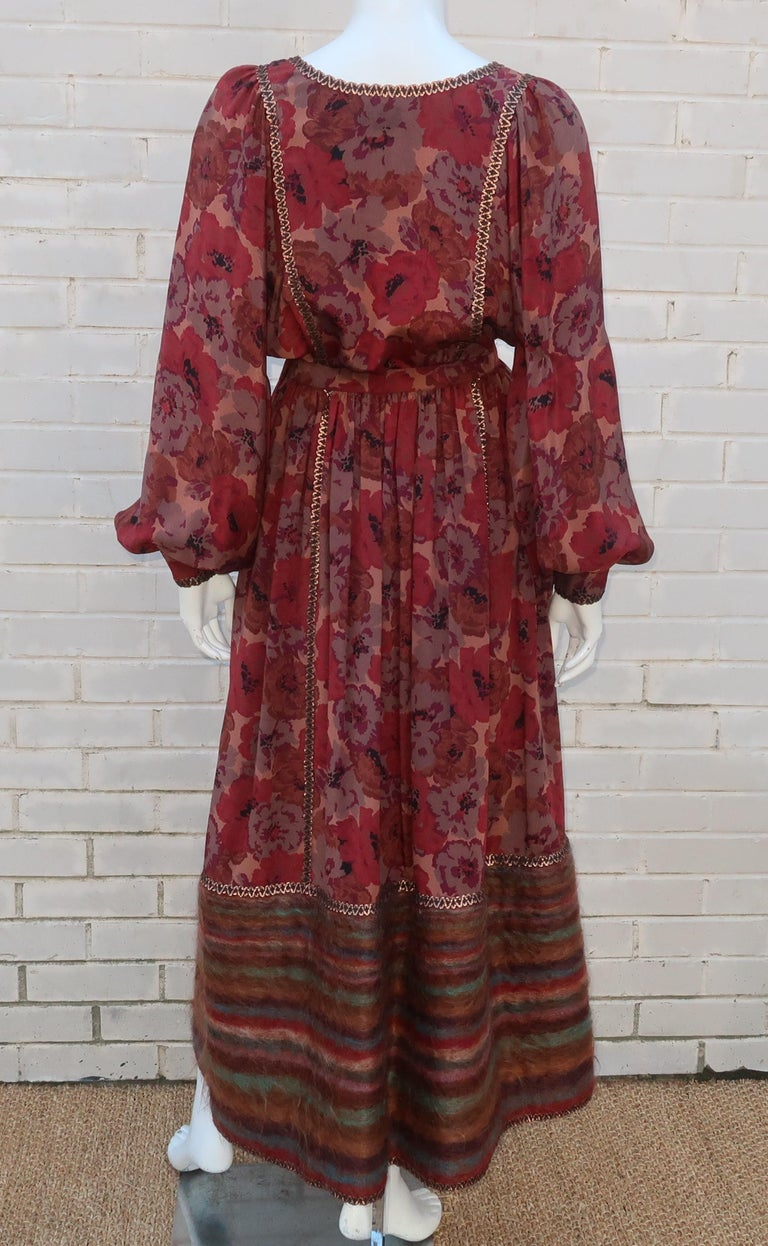 Geoffrey Beene Floral Silk Peasant Dress Ensemble, C.1980 For Sale 4