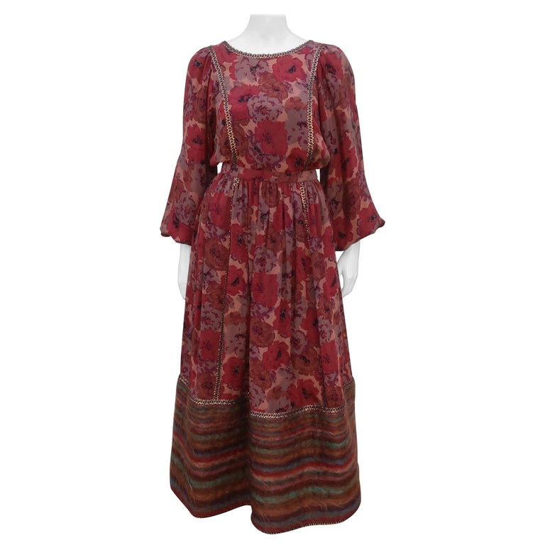 Geoffrey Beene Floral Silk Peasant Dress Ensemble, C.1980 For Sale