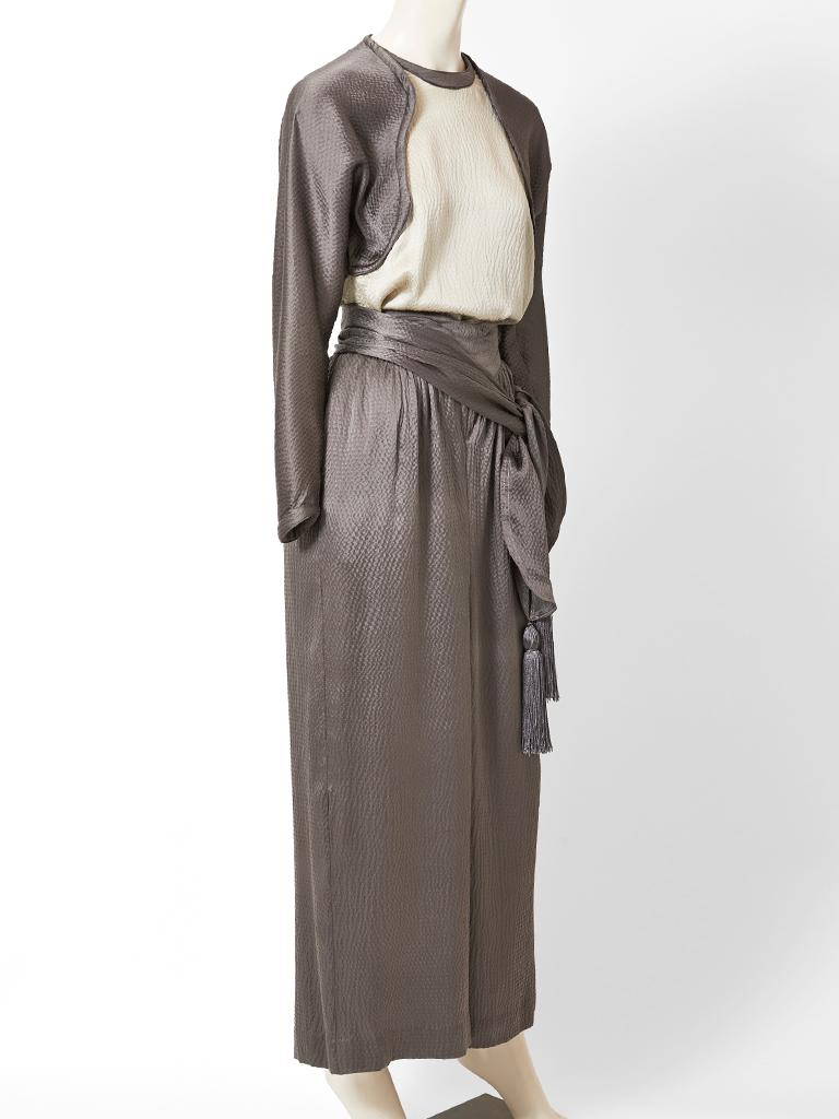 Gray Geoffrey Beene Hammered Satin Palazzo Pant Ensemble  For Sale