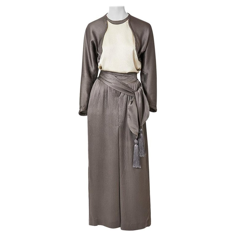 Geoffrey Beene Hammered Satin Palazzo Pant Ensemble  For Sale