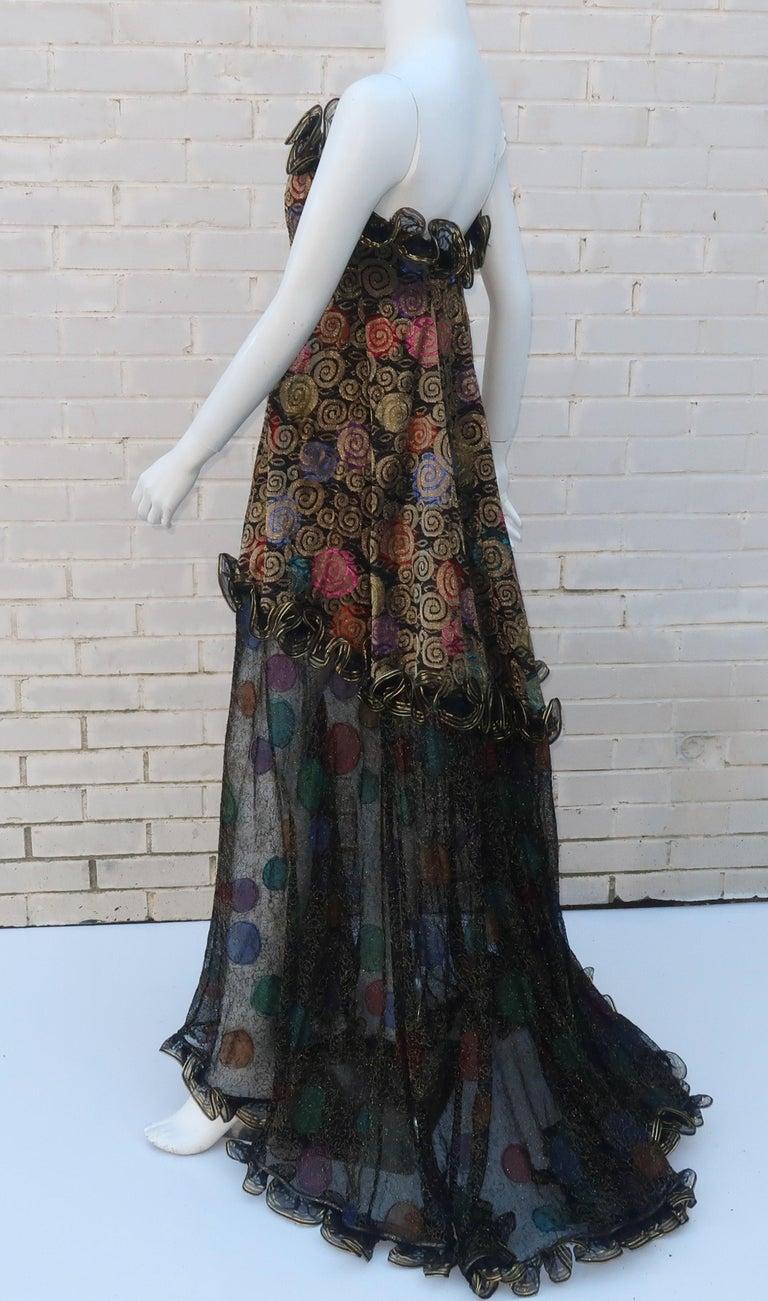 Geoffrey Beene Klimt Inspired Strapless Evening Dress, 1988 For Sale 7