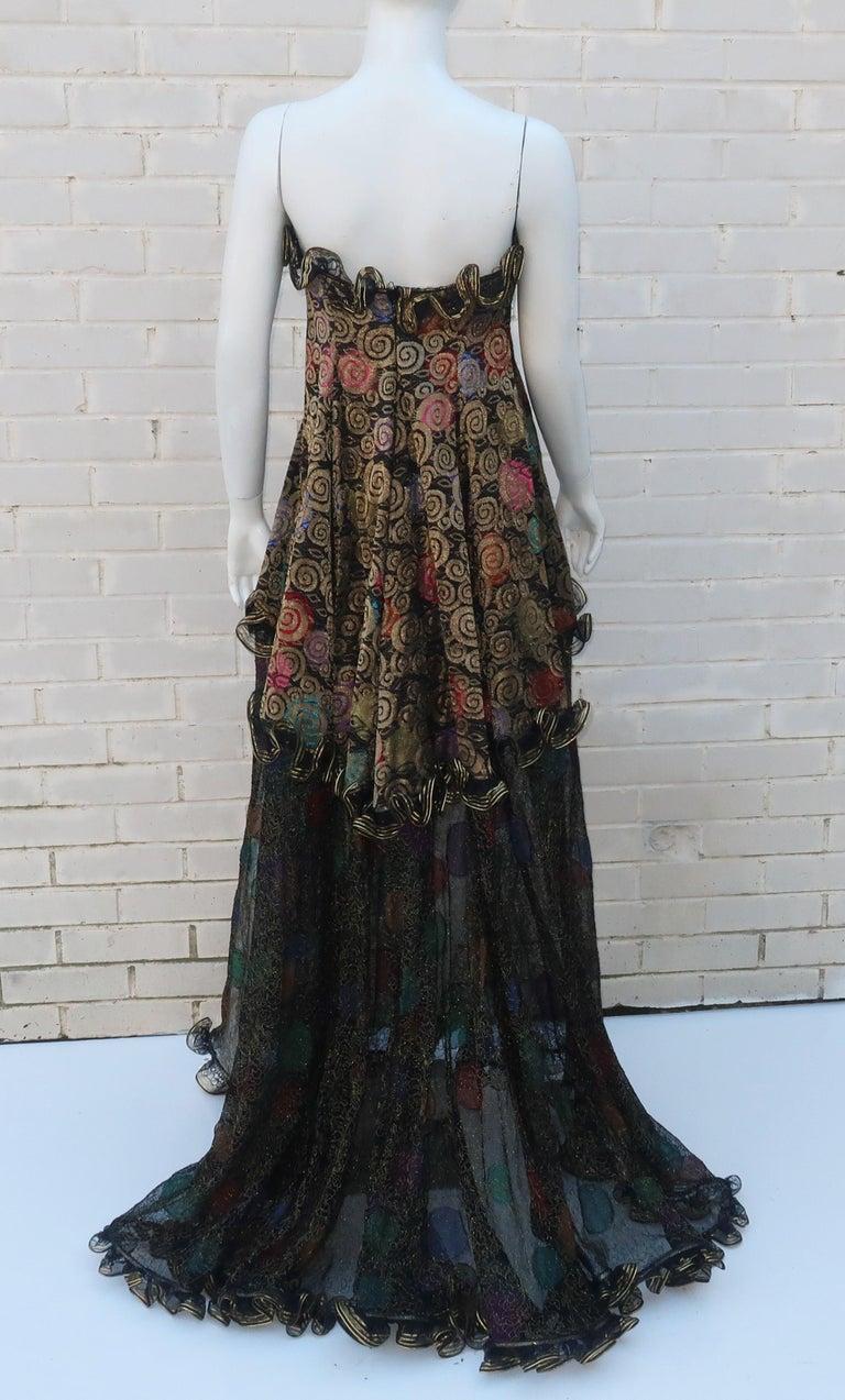 Geoffrey Beene Klimt Inspired Strapless Evening Dress, 1988 For Sale 8