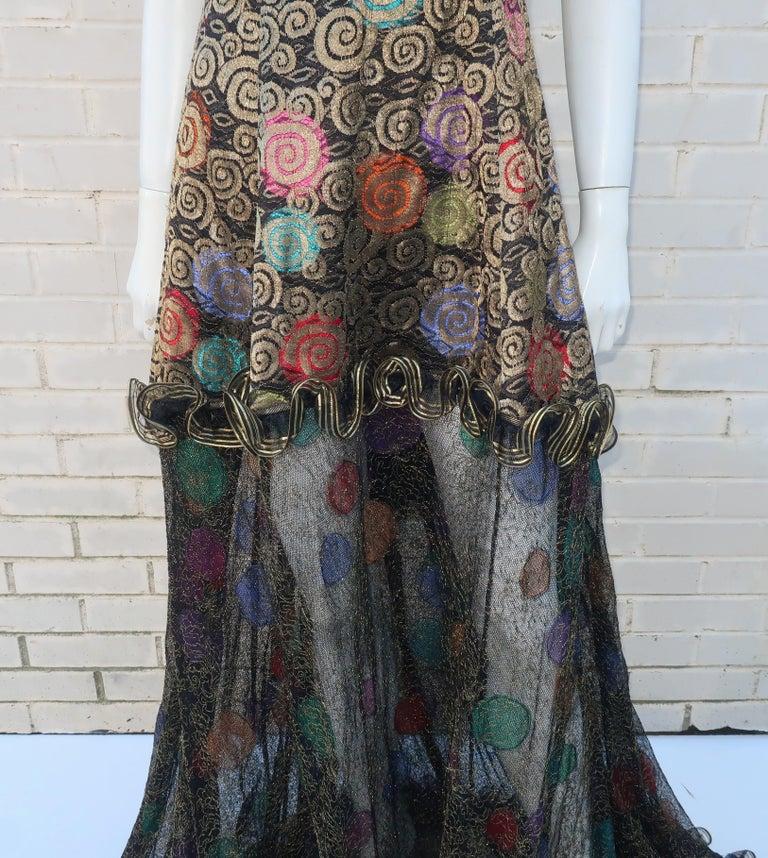 Geoffrey Beene Klimt Inspired Strapless Evening Dress, 1988 In Good Condition For Sale In Atlanta, GA