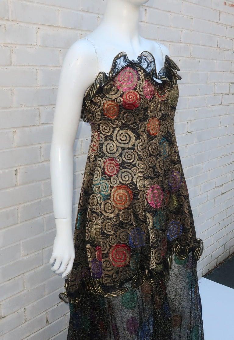 Geoffrey Beene Klimt Inspired Strapless Evening Dress, 1988 For Sale 2