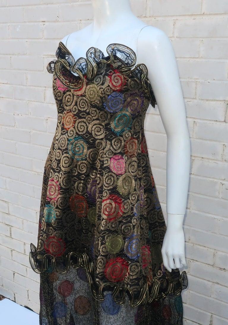 Geoffrey Beene Klimt Inspired Strapless Evening Dress, 1988 For Sale 3