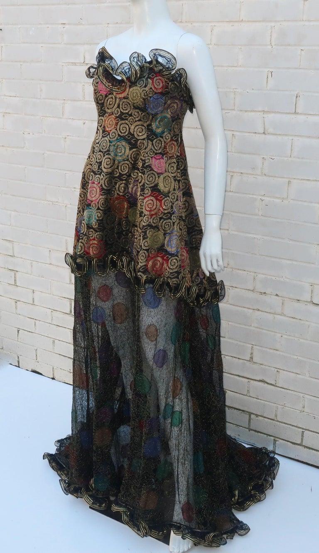 Geoffrey Beene Klimt Inspired Strapless Evening Dress, 1988 For Sale 4