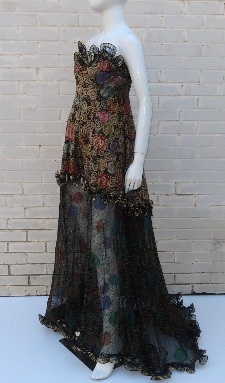 Geoffrey Beene Klimt Inspired Strapless Evening Dress, 1988 For Sale 5