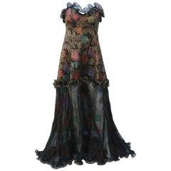 Geoffrey Beene Klimt Inspired Strapless Evening Dress, 1988