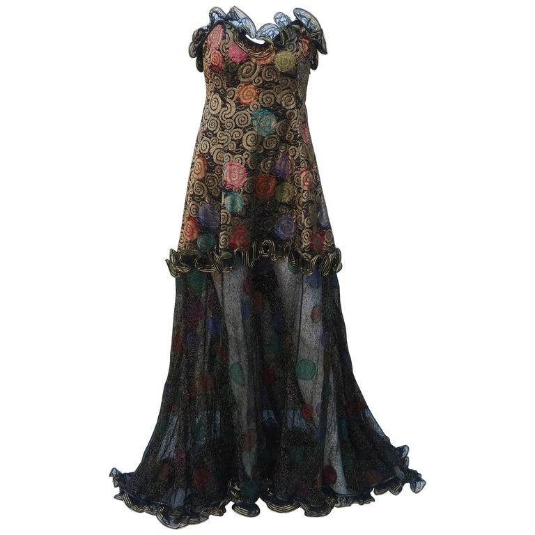Geoffrey Beene Klimt Inspired Strapless Evening Dress, 1988 For Sale