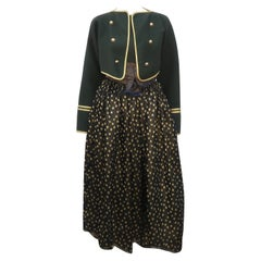 Geoffrey Beene Loden Green, Gold & Black Dress Ensemble, 1980's