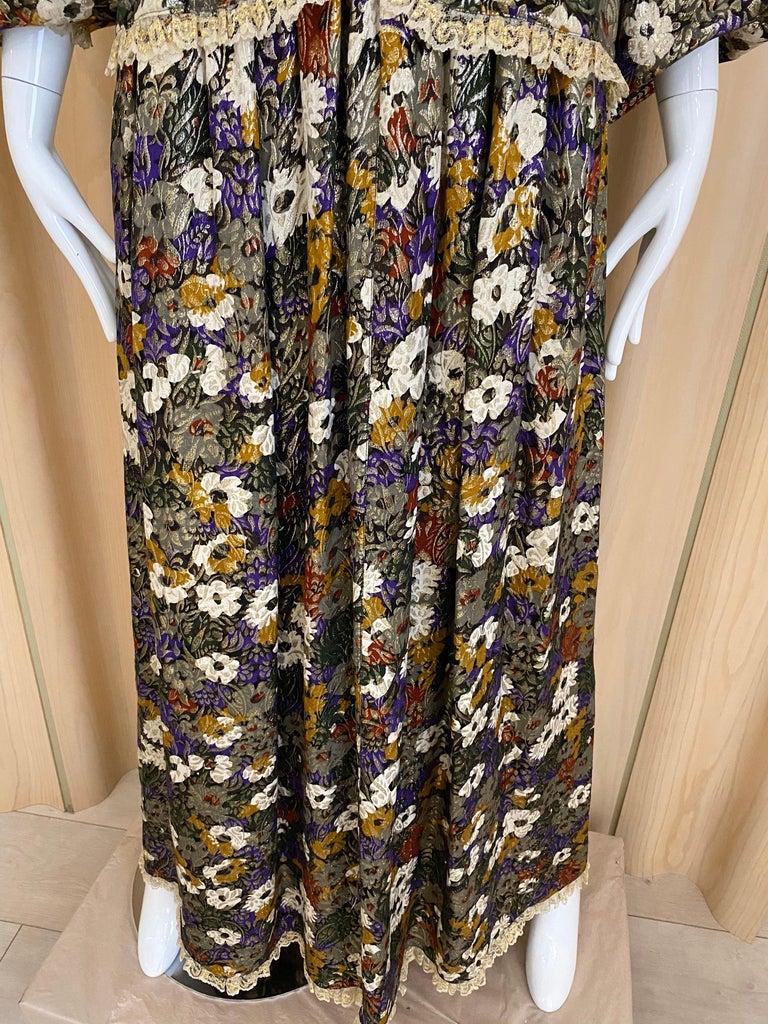 Black Geoffrey Beene Multi Color Floral Print Silk  Lamé Blouse Skirt  and pant  Set For Sale
