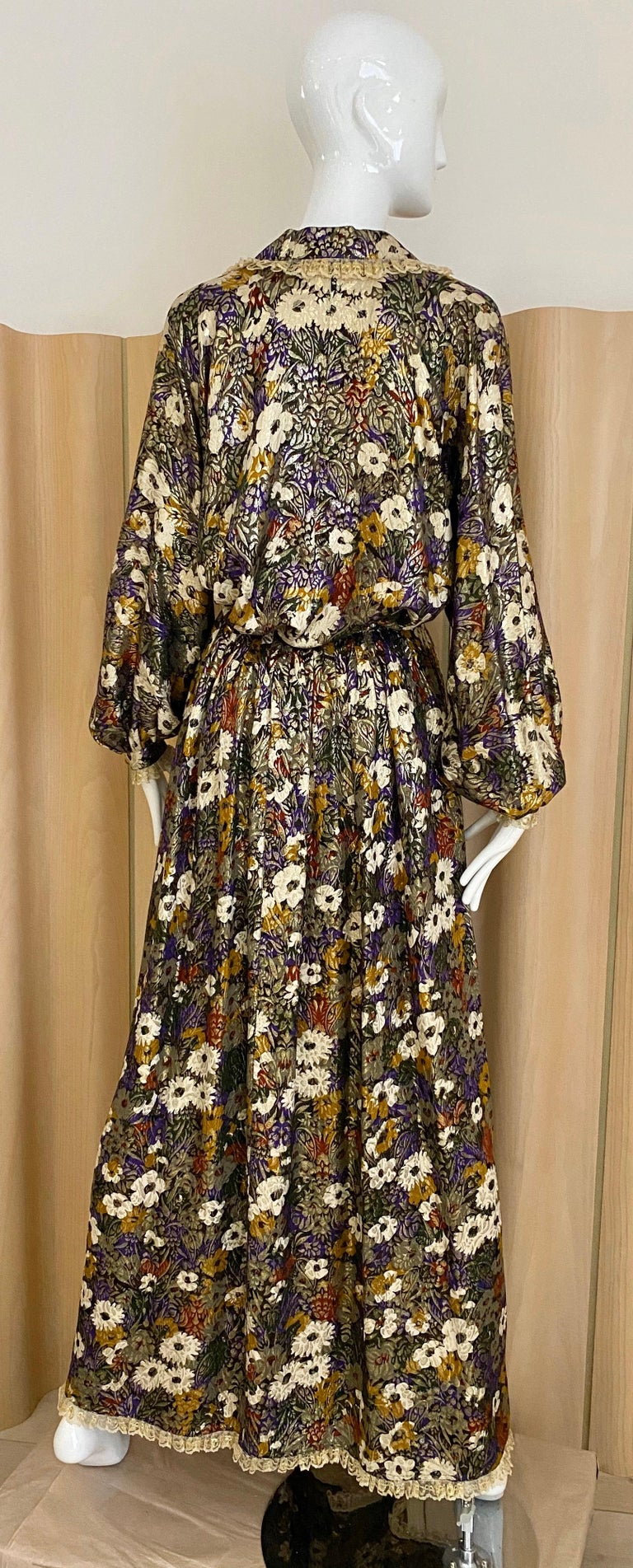 Geoffrey Beene Multi Color Floral Print Silk  Lamé Blouse Skirt  and pant  Set For Sale 3