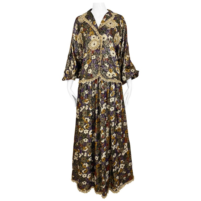 Geoffrey Beene Multi Color Floral Print Silk  Lamé Blouse Skirt  and pant  Set For Sale