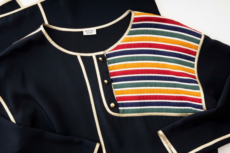 Geoffrey Beene Navy Blue Multicolored Striped Quilted Shift Dress, Fall 1993 For Sale 6