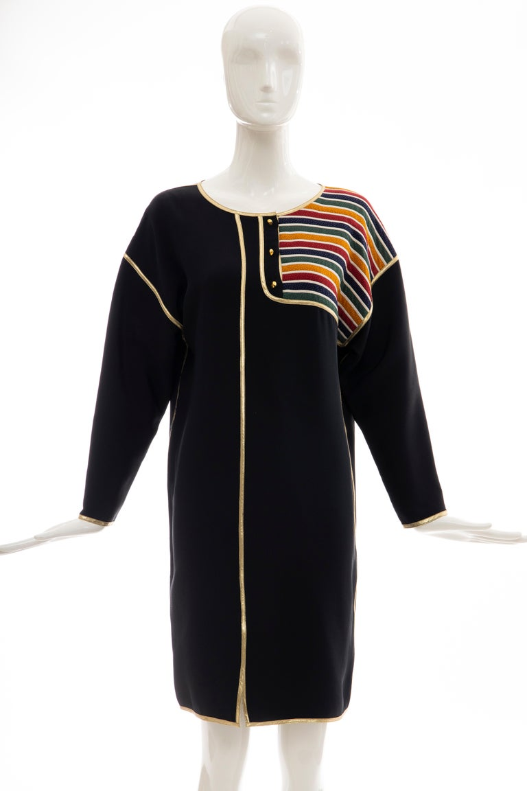 Geoffrey Beene, Fall 1993 silk navy blue multicolored striped quilted button front shift dress with gold lame trim.  US. 6  Bust: 40, Waist: 39, Hips: 39, Shoulder: 22, Sleeve: 18, Length: 37