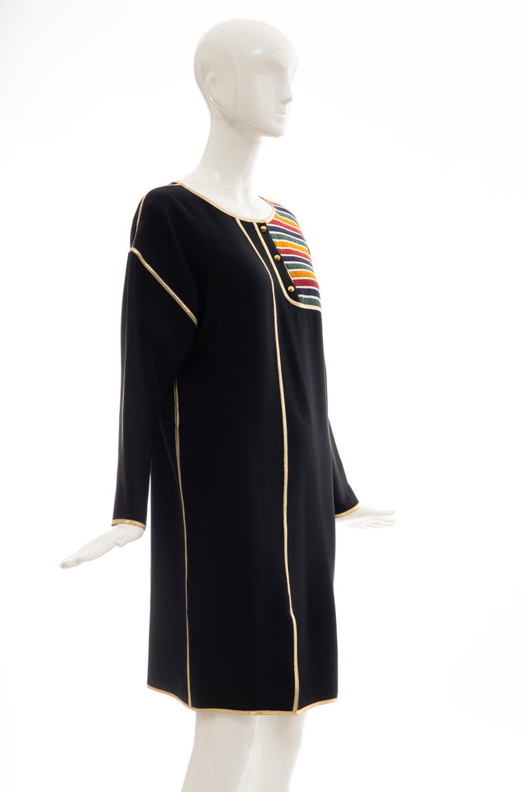 Geoffrey Beene Navy Blue Multicolored Striped Quilted Shift Dress, Fall 1993 In Excellent Condition For Sale In Cincinnati, OH