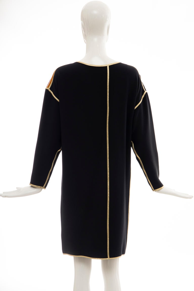 Geoffrey Beene Navy Blue Multicolored Striped Quilted Shift Dress, Fall 1993 For Sale 1