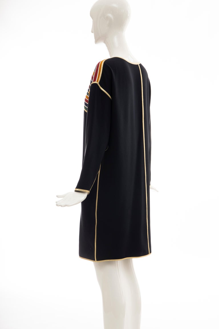 Geoffrey Beene Navy Blue Multicolored Striped Quilted Shift Dress, Fall 1993 For Sale 3