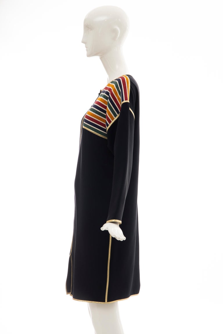 Geoffrey Beene Navy Blue Multicolored Striped Quilted Shift Dress, Fall 1993 For Sale 4