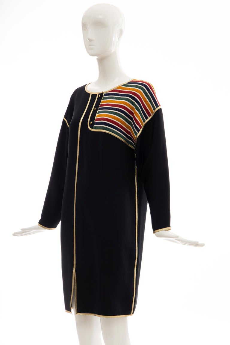 Geoffrey Beene Navy Blue Multicolored Striped Quilted Shift Dress, Fall 1993 For Sale 5