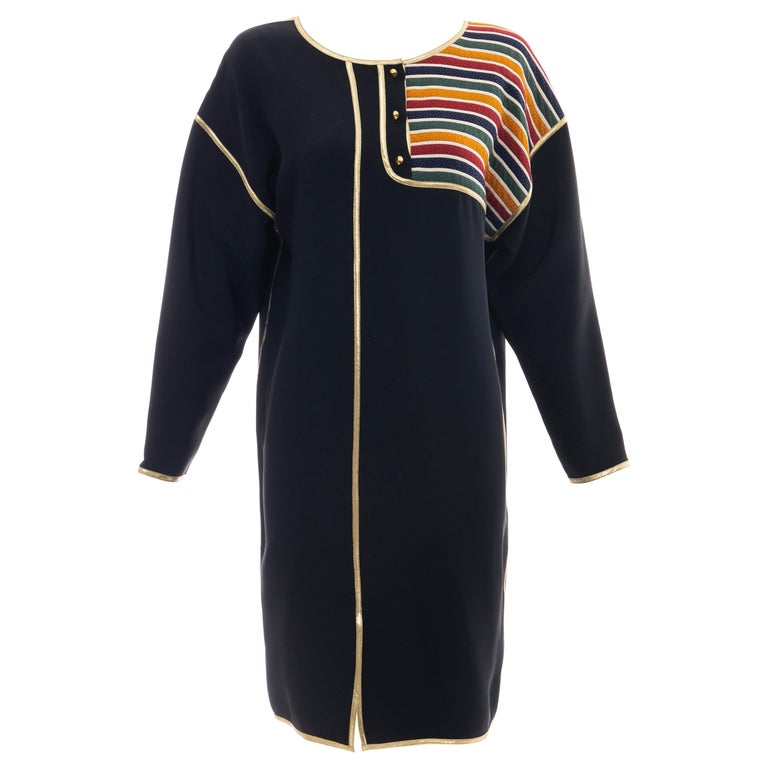Geoffrey Beene Navy Blue Multicolored Striped Quilted Shift Dress, Fall 1993 For Sale