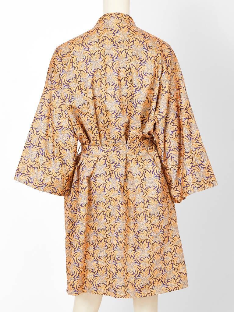 Beige Geoffrey Beene Patterned Belted Kimono  For Sale