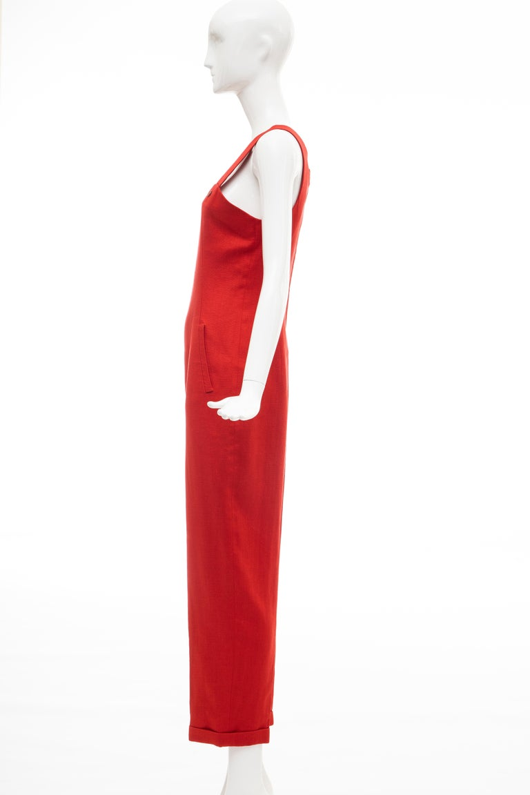 Geoffrey Beene Red Linen Jumpsuit Silk Lined With Jacket, Circa: 1970's For Sale 7