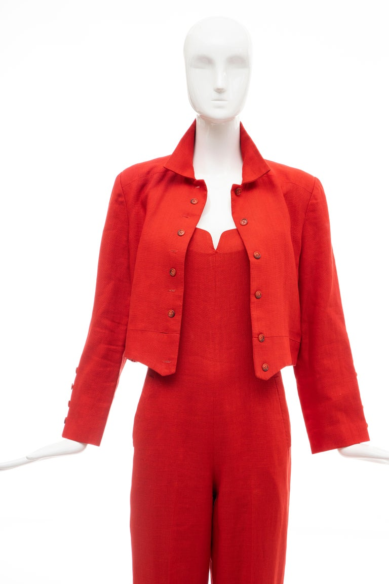 Geoffrey Beene Red Linen Jumpsuit Silk Lined With Jacket, Circa: 1970's For Sale 9