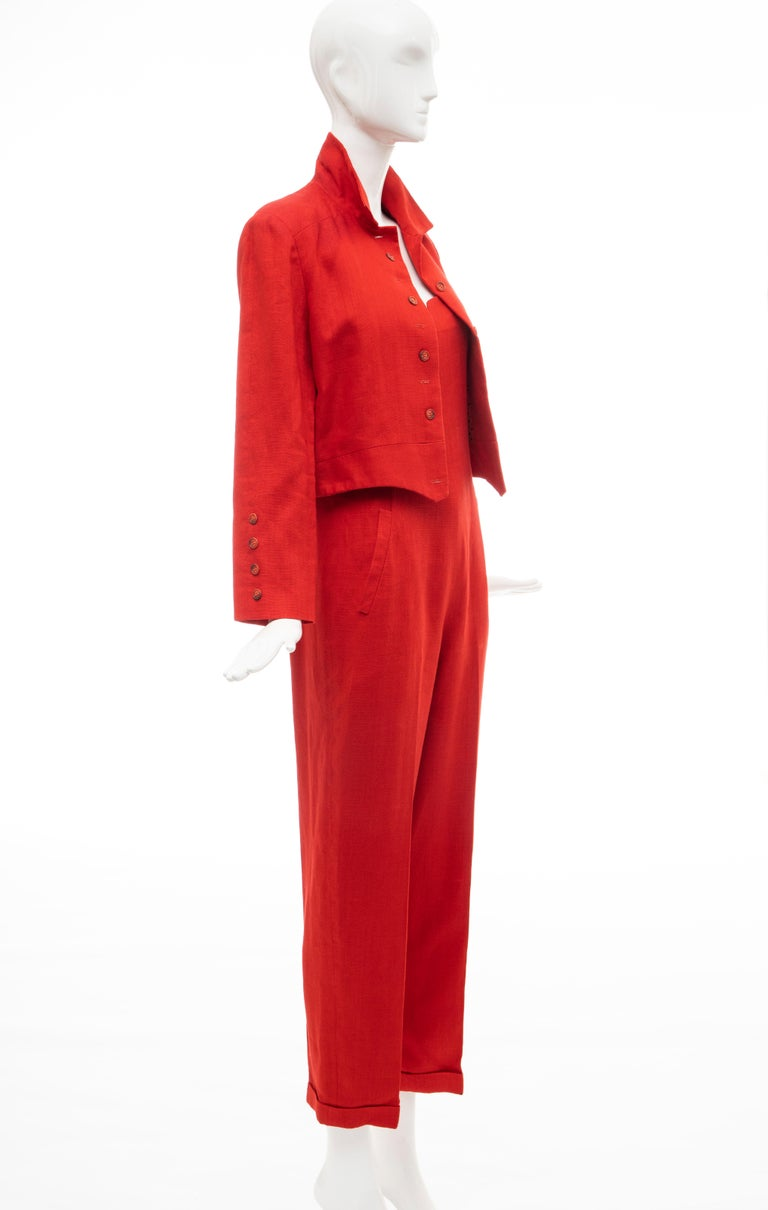 Geoffrey Beene Red Linen Jumpsuit Silk Lined With Jacket, Circa: 1970's For Sale 10