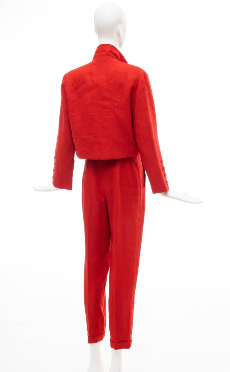 Geoffrey Beene Red Linen Jumpsuit Silk Lined With Jacket, Circa: 1970's For Sale 11
