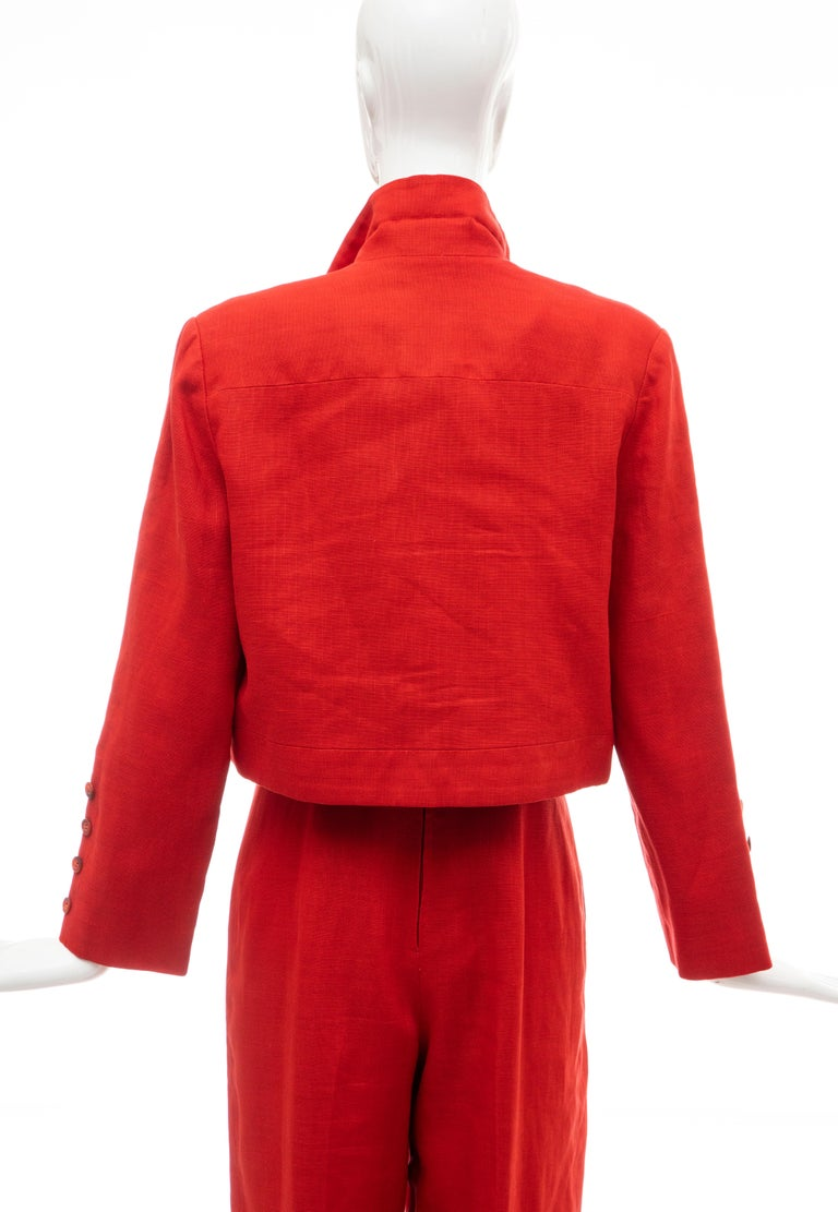 Geoffrey Beene Red Linen Jumpsuit Silk Lined With Jacket, Circa: 1970's For Sale 12