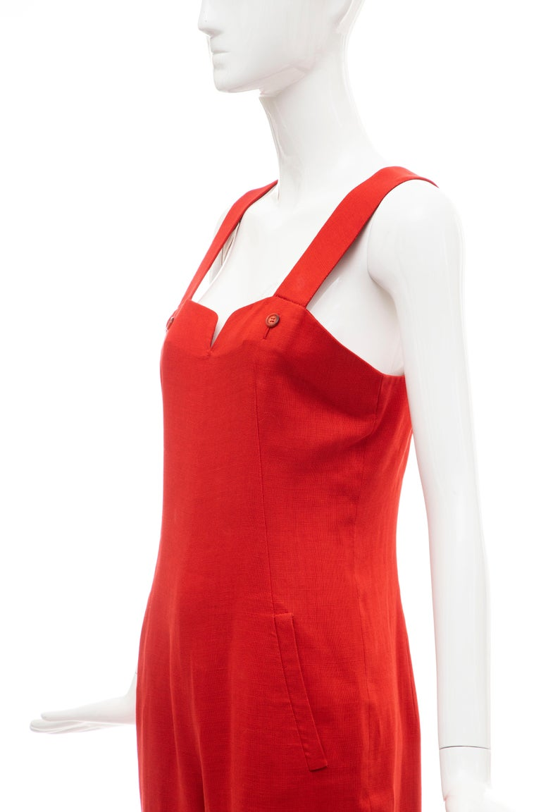 Geoffrey Beene Red Linen Jumpsuit Silk Lined With Jacket, Circa: 1970's For Sale 13