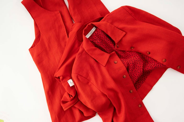 Geoffrey Beene Red Linen Jumpsuit Silk Lined With Jacket, Circa: 1970's For Sale 14