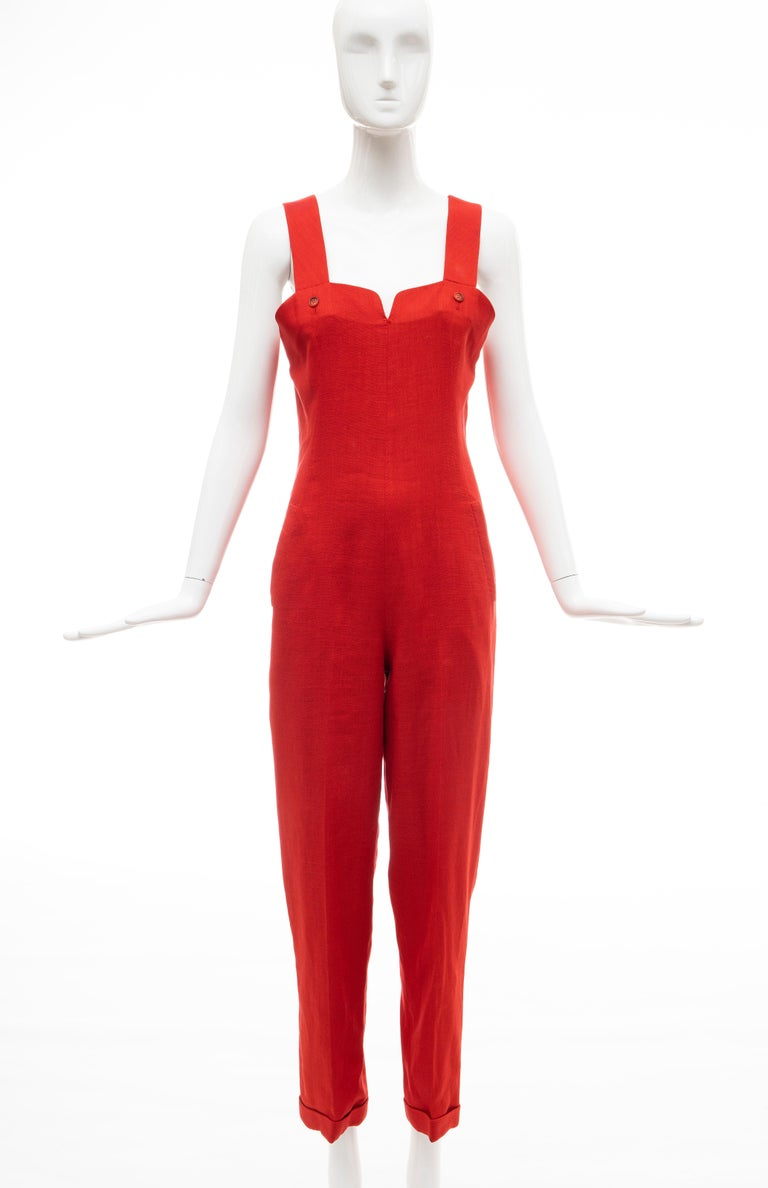 Geoffrey Beene Red Linen Jumpsuit Silk Lined With Jacket, Circa: 1970's In Good Condition For Sale In Cincinnati, OH
