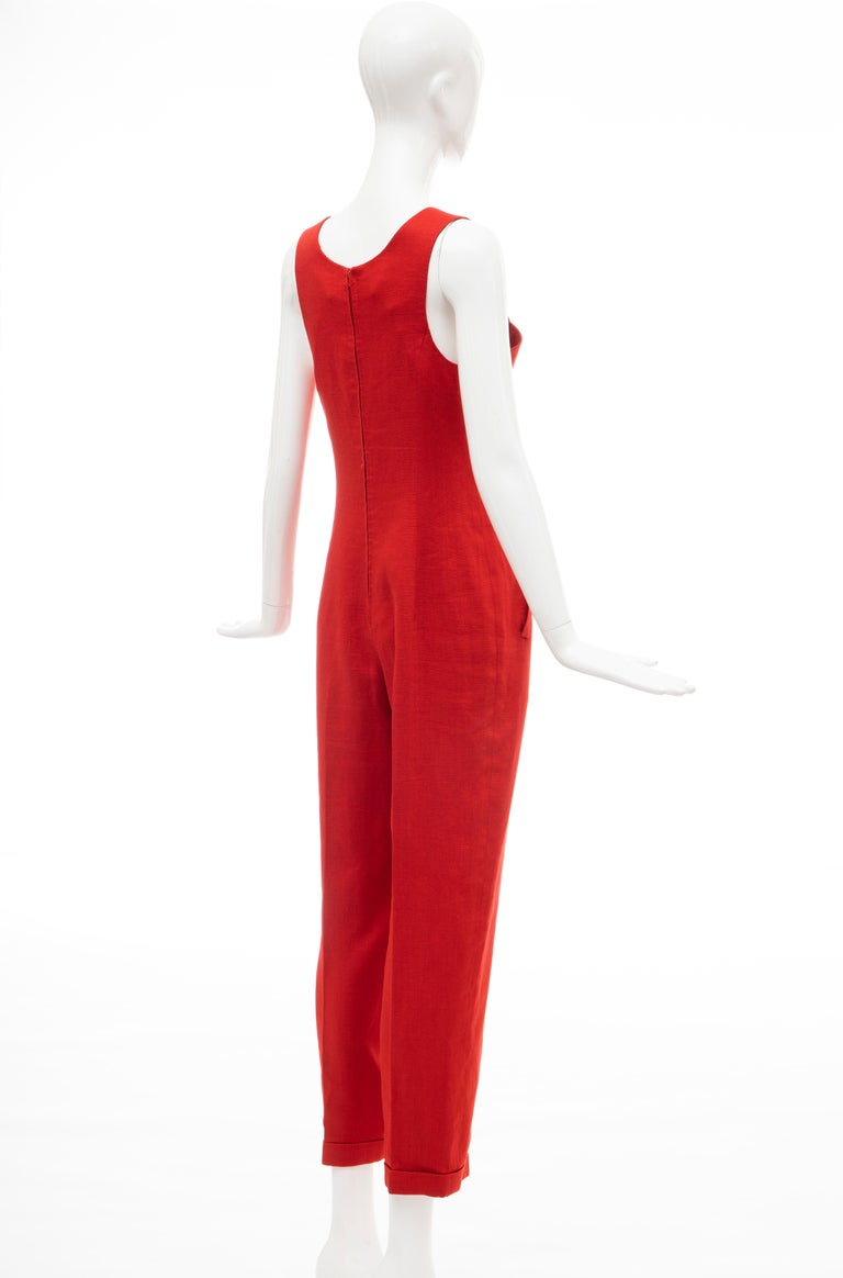 Geoffrey Beene Red Linen Jumpsuit Silk Lined With Jacket, Circa: 1970's For Sale 3