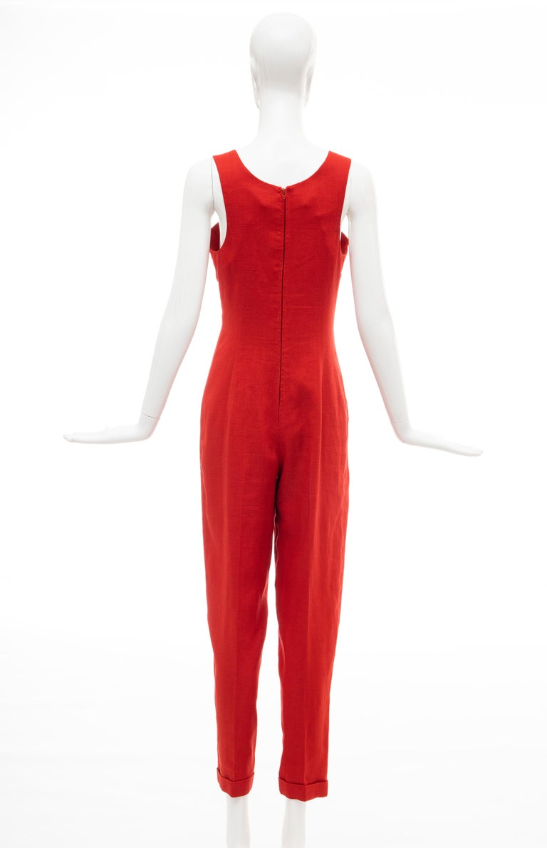 Geoffrey Beene Red Linen Jumpsuit Silk Lined With Jacket, Circa: 1970's For Sale 4