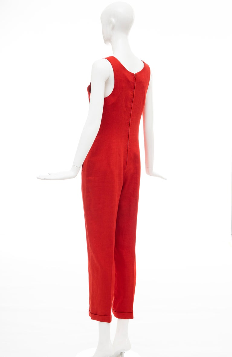 Geoffrey Beene Red Linen Jumpsuit Silk Lined With Jacket, Circa: 1970's For Sale 5