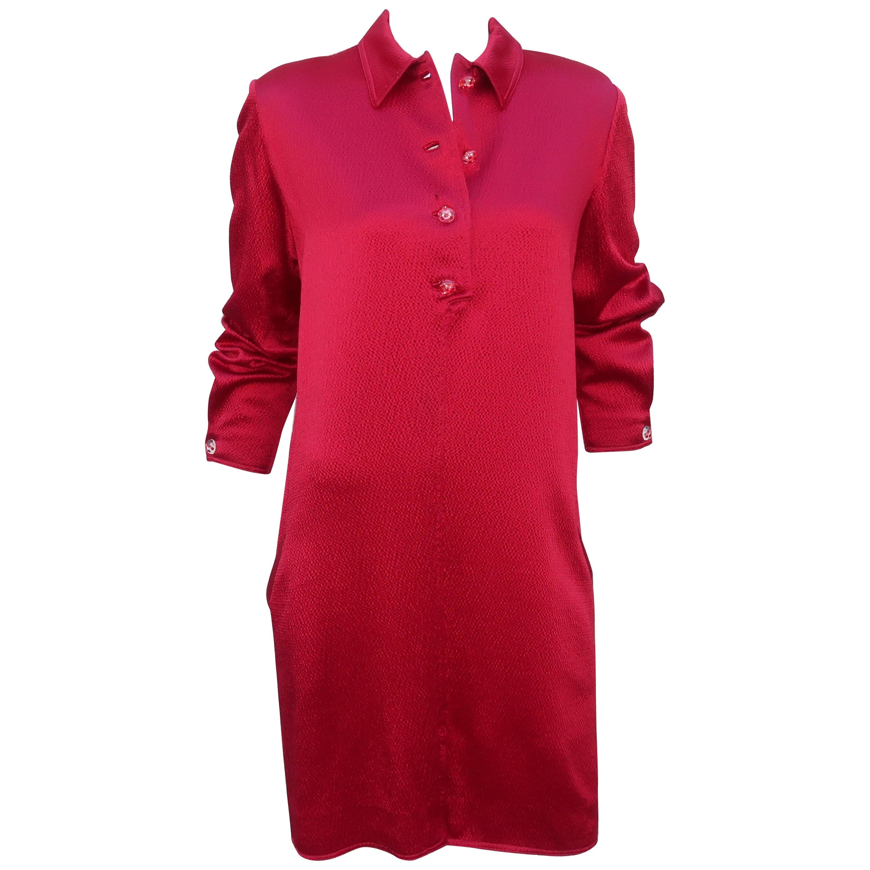 Geoffrey Beene Ruby Red Satin Shirt Dress With Lucite Buttons, 1980's