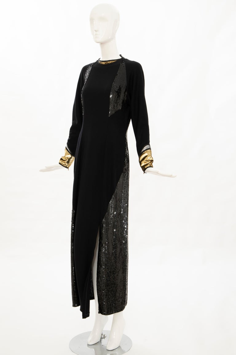 Geoffrey Beene Runway Black Wool Silk Embroidered Sequin Evening Dress,Fall 1992 For Sale 6