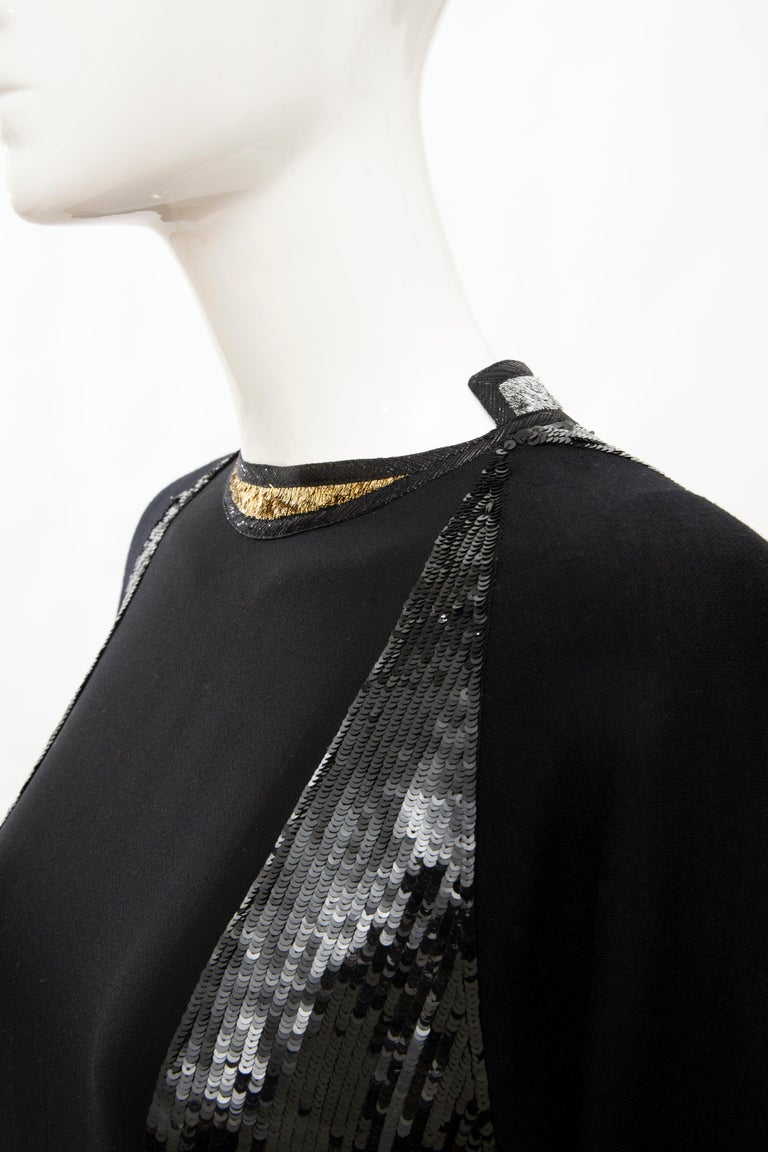 Geoffrey Beene Runway Black Wool Silk Embroidered Sequin Evening Dress,Fall 1992 For Sale 8