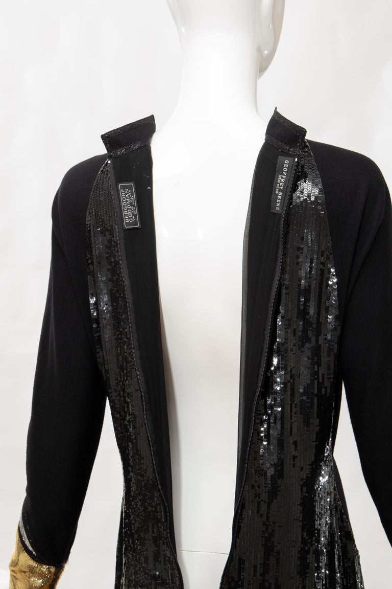 Geoffrey Beene Runway Black Wool Silk Embroidered Sequin Evening Dress,Fall 1992 For Sale 9