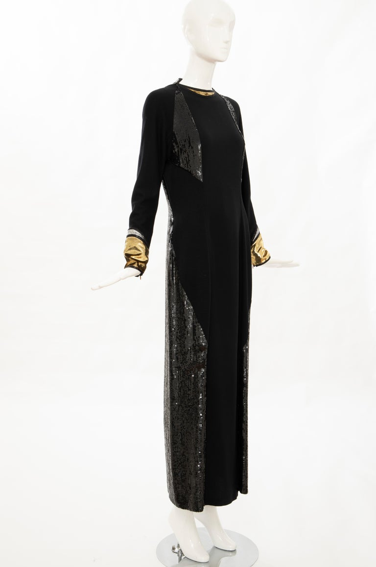 Geoffrey Beene Runway Black Wool Silk Embroidered Sequin Evening Dress,Fall 1992 In Excellent Condition For Sale In Cincinnati, OH